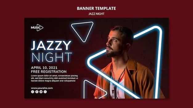 Plantilla de banner horizontal para evento nocturno de jazz de neón