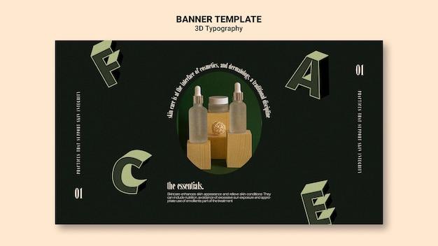Plantilla de banner horizontal para exhibición de botellas de aceite esencial con letras tridimensionales