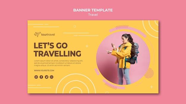Plantilla de banner horizontal para una experiencia de viaje.