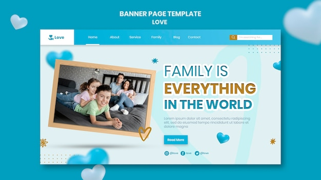 Plantilla de banner horizontal de familia feliz