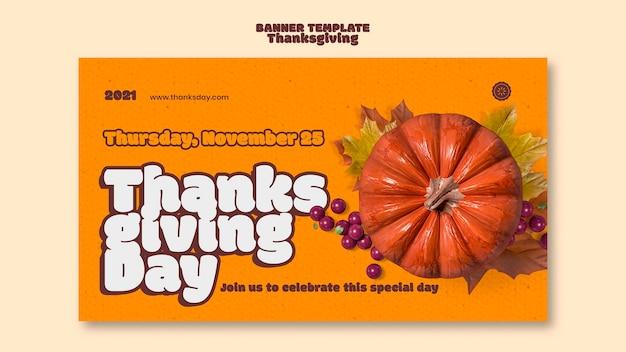Plantilla de banner horizontal de feliz día de acción de gracias