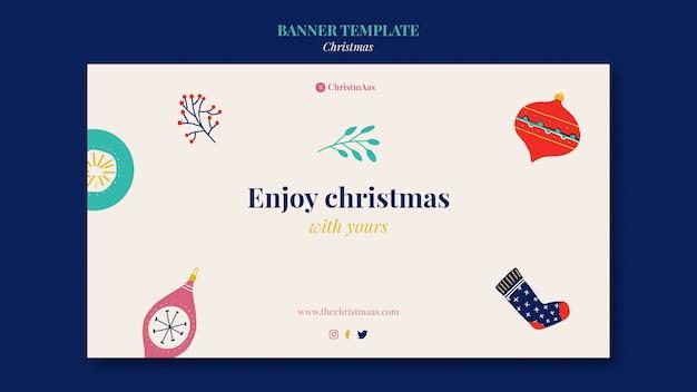 Plantilla de banner horizontal de feliz navidad