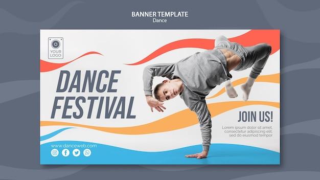 Plantilla de banner horizontal para festival de danza con artista