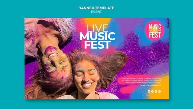 Plantilla de banner horizontal de festival de música