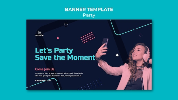 Plantilla de banner horizontal de fiesta en línea