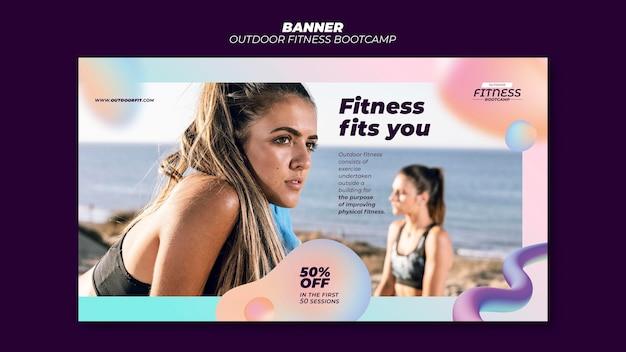 Plantilla de banner horizontal para fitness al aire libre