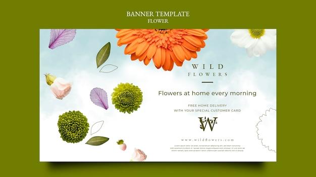 Plantilla de banner horizontal de florería