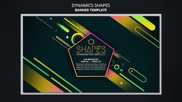 Plantilla de banner horizontal con formas de neón geométricas dinámicas
