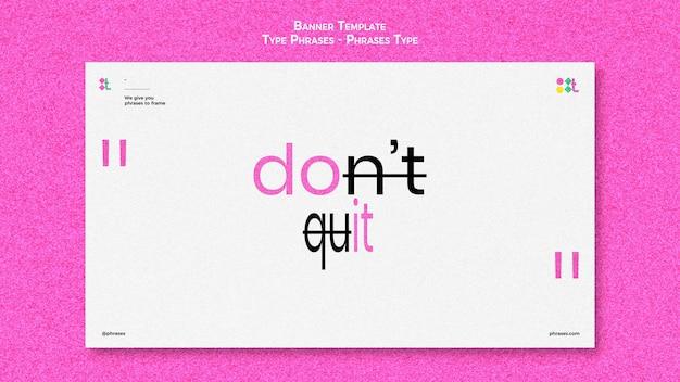 Plantilla de banner horizontal para frases tipográficas