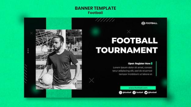Plantilla de banner horizontal de fútbol