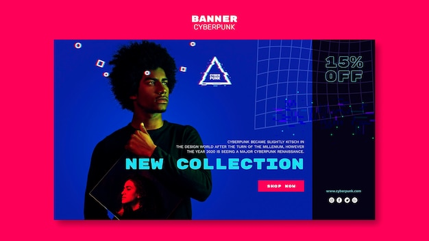 Plantilla de banner horizontal futurista cyberpunk