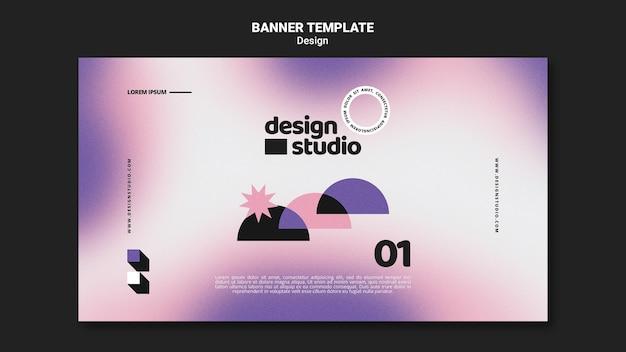 Plantilla de banner horizontal geométrico para estudio de diseño PSD gratuito