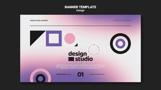 Plantilla de banner horizontal geométrico para estudio de diseño