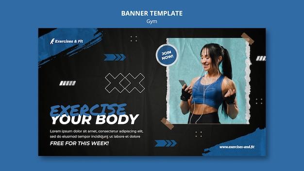 Plantilla de banner horizontal para gimnasio con atleta femenina