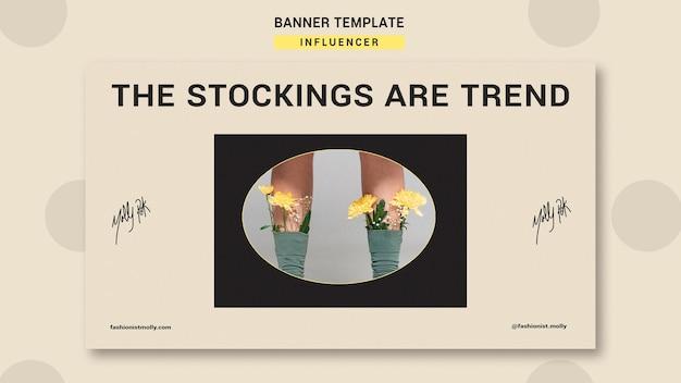 Plantilla de banner horizontal para influencer de moda en redes sociales