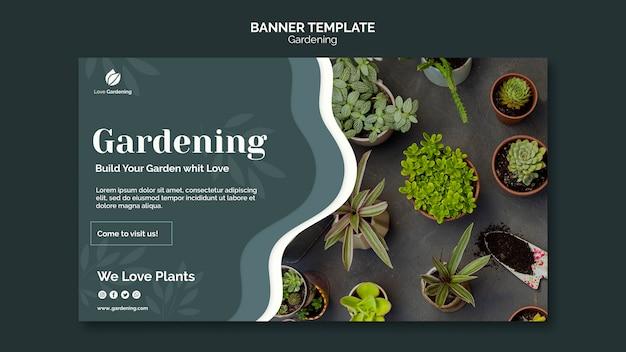 Plantilla de banner horizontal para jardinería.