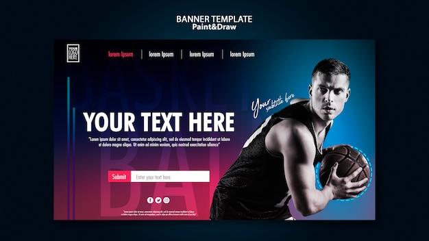 Plantilla de banner horizontal de jugador de baloncesto