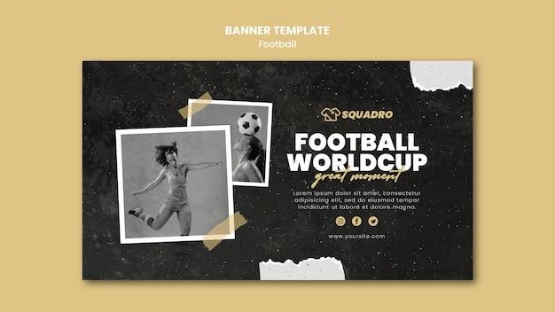 Plantilla de banner horizontal para jugadora de fútbol