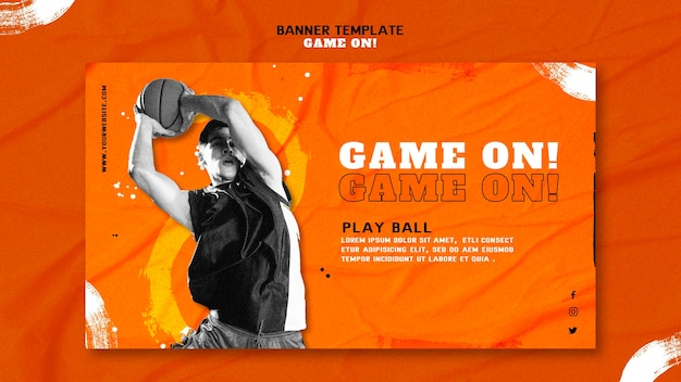 Plantilla de banner horizontal para jugar baloncesto