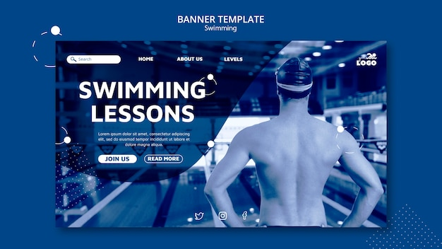 Plantilla de banner horizontal de lecciones de natación con foto