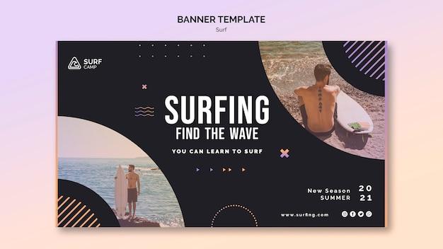 Plantilla de banner horizontal de lecciones de surf con foto