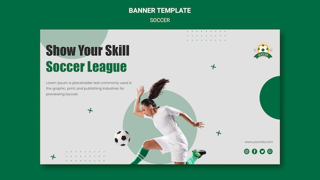 Plantilla de banner horizontal para liga de fútbol femenino