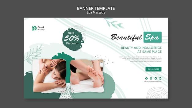 Plantilla de banner horizontal para masaje de spa con mujer