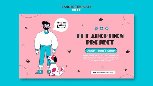Plantilla de banner horizontal de mascotas