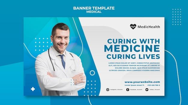 Plantilla de banner horizontal médico