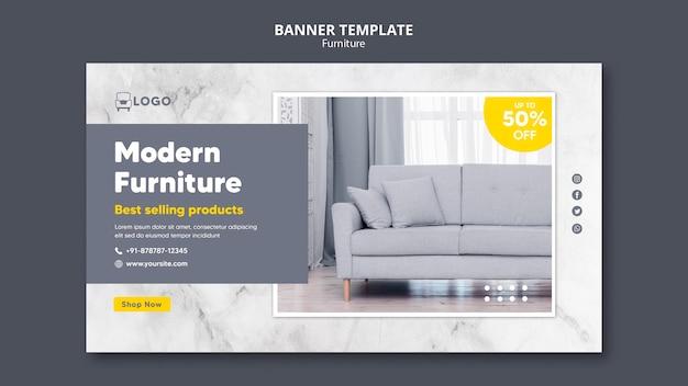 Plantilla de banner horizontal de muebles modernos