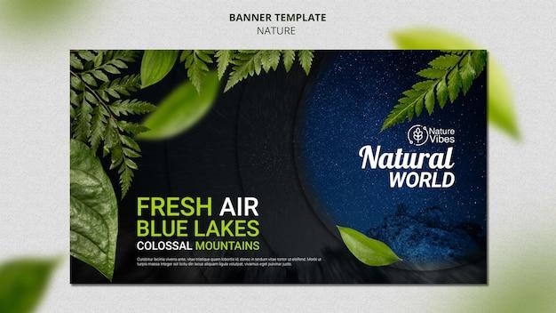 Plantilla de banner horizontal de naturaleza