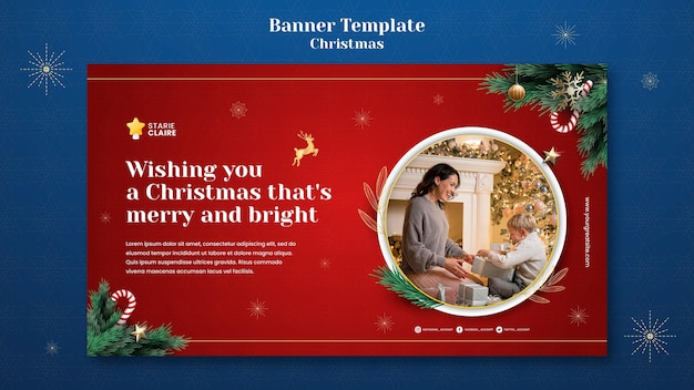 Plantilla de banner horizontal de navidad festiva