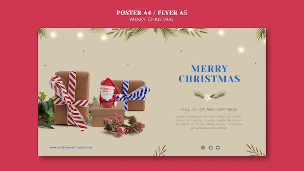 Plantilla de banner horizontal de navidad minimalista