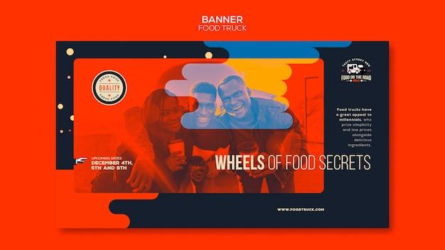 Plantilla de banner horizontal para negocio de camiones de comida