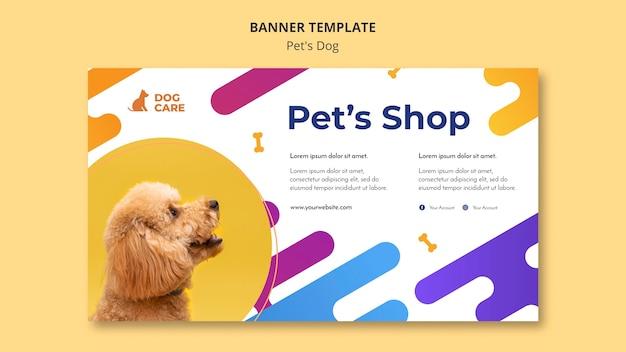 Plantilla de banner horizontal para negocio de tienda de mascotas