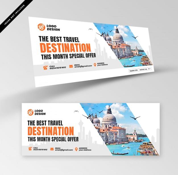Plantilla de banner horizontal o encabezado para agencia de viajes u operador turístico