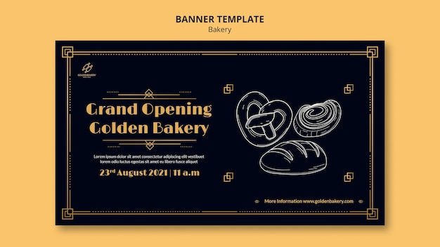 Plantilla de banner horizontal para panadería con pizarra dibujada a mano