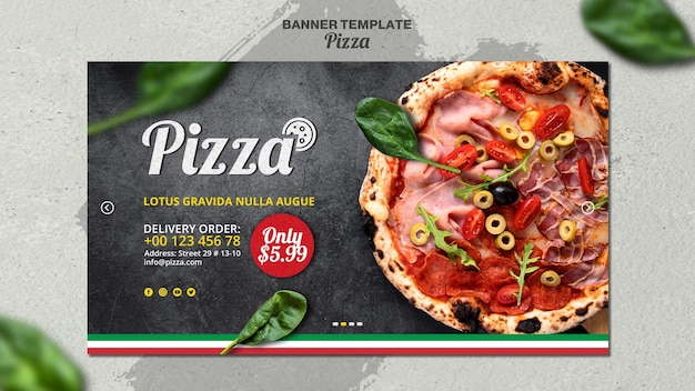 Plantilla de banner horizontal para pizzería italiana
