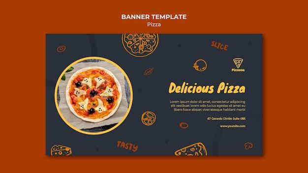 Plantilla de banner horizontal para pizzería