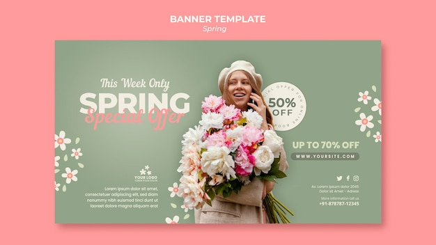 Plantilla de banner horizontal de primavera