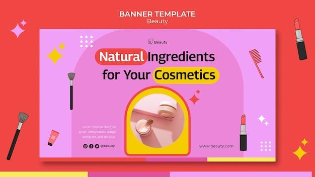 Plantilla de banner horizontal de productos de belleza
