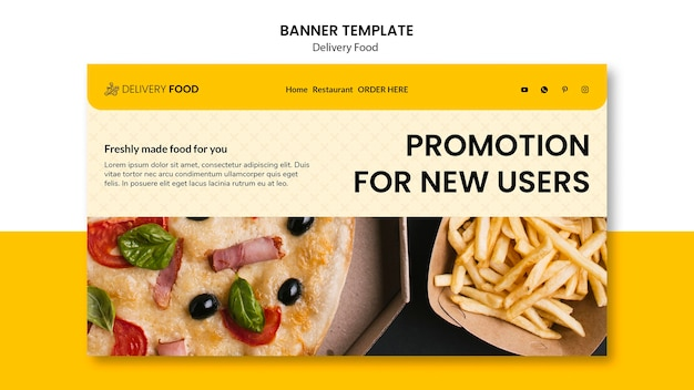 Plantilla de banner horizontal promocional de entrega de alimentos