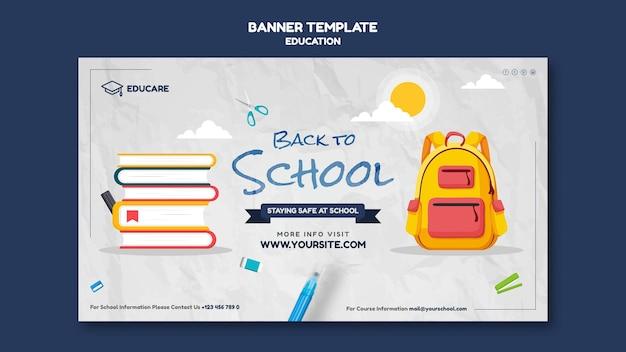 Plantilla de banner horizontal para regreso a clases.