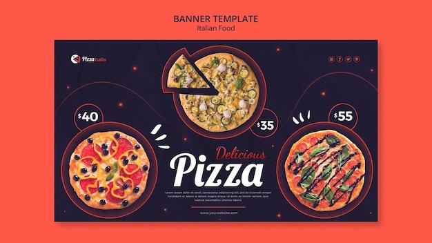 Plantilla de banner horizontal para restaurante de comida italiana