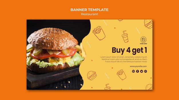 Plantilla de banner horizontal de restaurante de hamburguesas