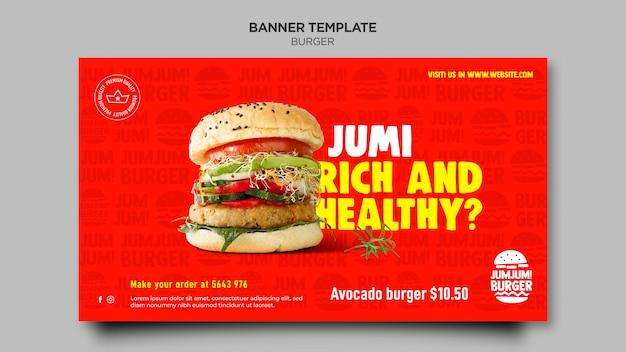 Plantilla de banner horizontal para restaurante de hamburguesas