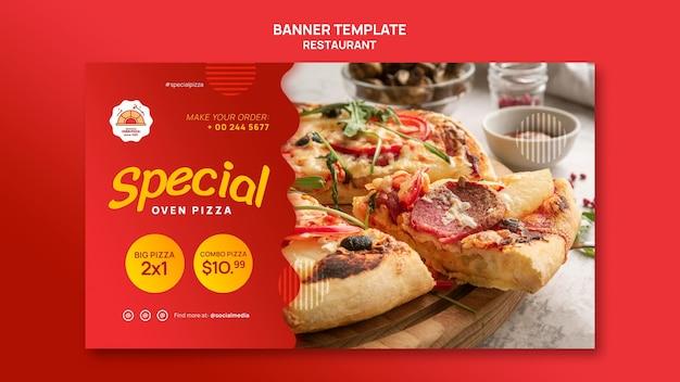 Plantilla de banner horizontal de restaurante de pizza
