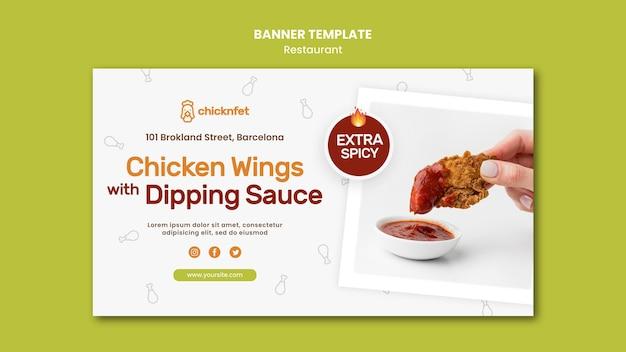 Plantilla de banner horizontal para restaurante de plato de pollo frito
