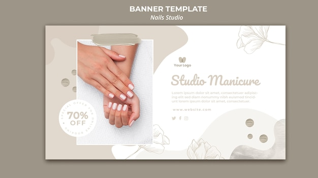 Plantilla de banner horizontal para salón de uñas