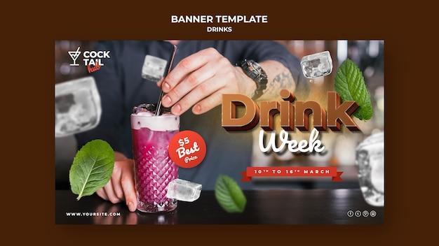 Plantilla de banner horizontal de semana de bebida